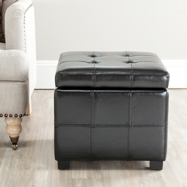 Ottomans Deacon Beige Upholstered Blanket Box: Safavieh Broadway Black Leather Tufted Storage Ottoman