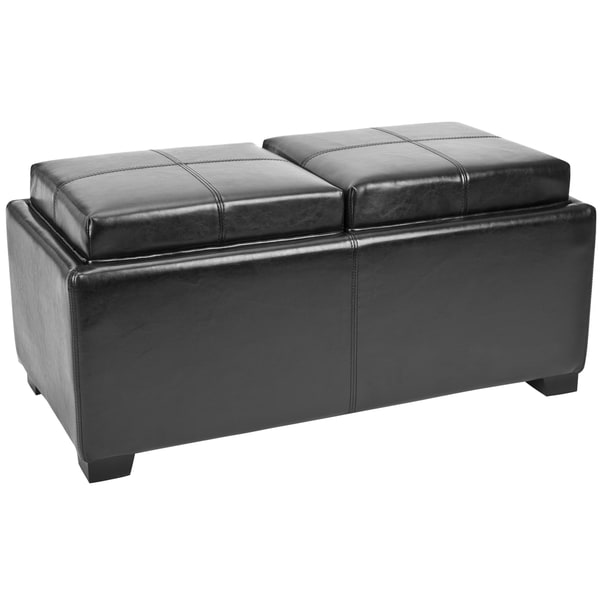 Safavieh Broadway Double Tray Black Leather Storage
