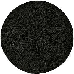 Hand Woven Black Jute Braided Rug 6 Round 13588618