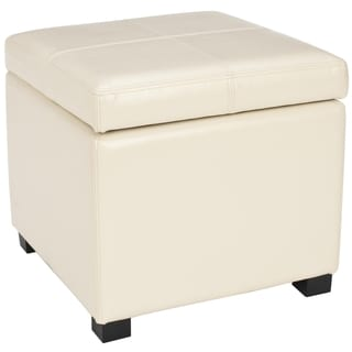 Healy Cream Leather Tufted Ottoman 15254114 Overstock