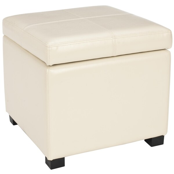 Safavieh Broadway Cream Leather Storage Ottoman 13588743