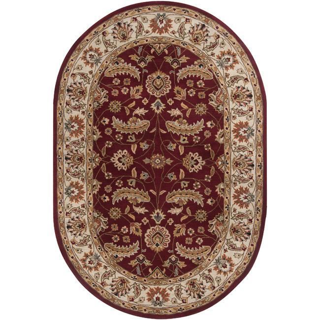 New Persian Hand Tufted Wool Oval Area Rug: Hand-tufted Kaiser Red Wool Rug (8' X 10' Oval