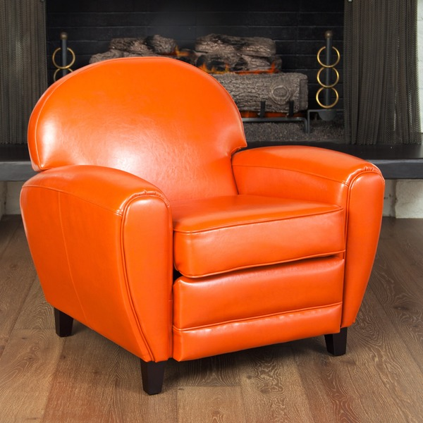 Oversized Burnt Orange Leather Club Chair 13593744