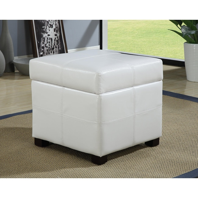 White Synthetic Leather Storage Cube With Wood Serving