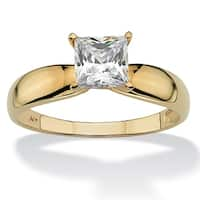 10K Yellow Gold Cubic Zirconia Solitaire Engagement Ring - White