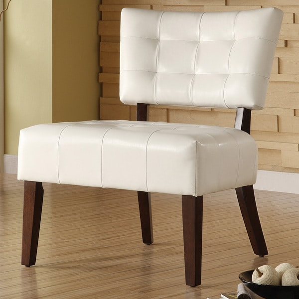 TRIBECCA HOME Smith White Faux Leather Tufted Accent Chair