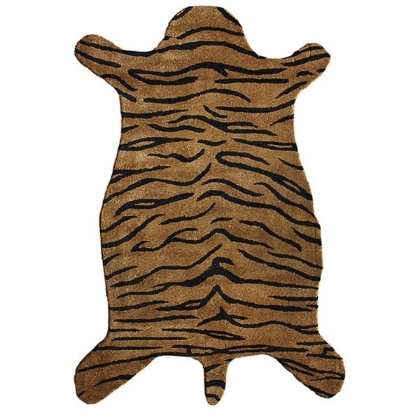NuLOOM Hand-tufted Animal Shape Tiger Wool Rug (4' X 6