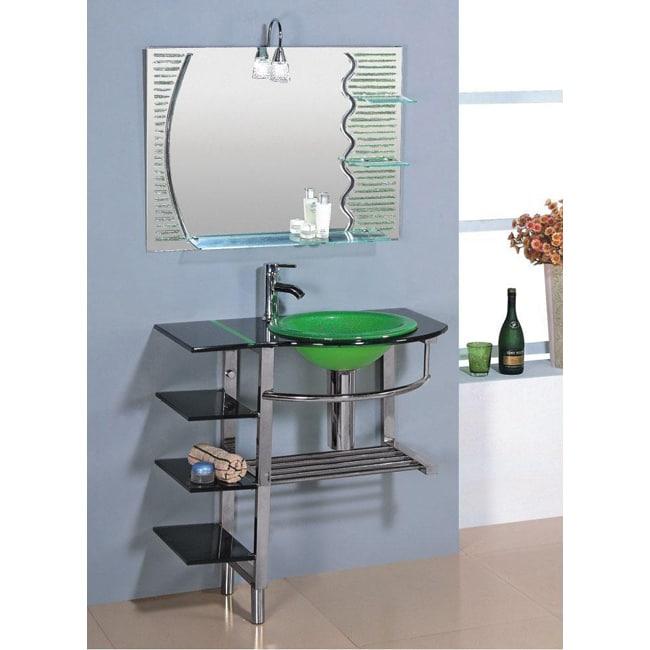 Kokols Clear Vessel Sink Pedestal 3 Shelf Bathroom Vanity