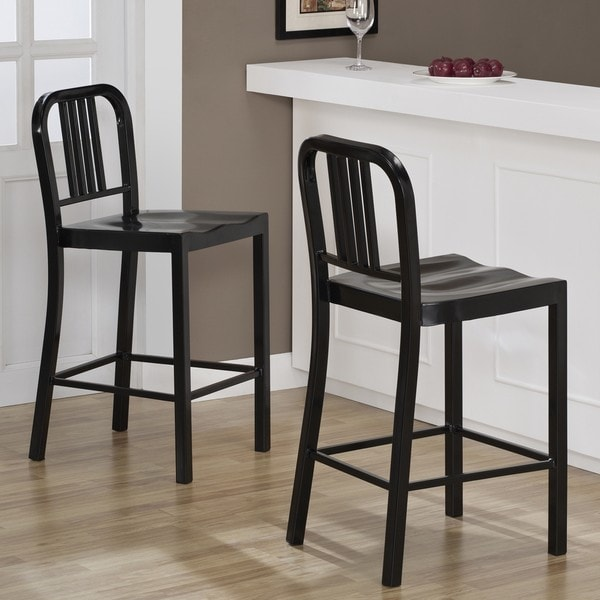 Black Metal Counter Stools Set Of 2 Overstock Shopping