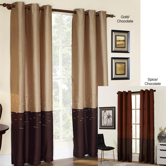 Horizon Embroidery Grommet 84 Inch Curtain Panel
