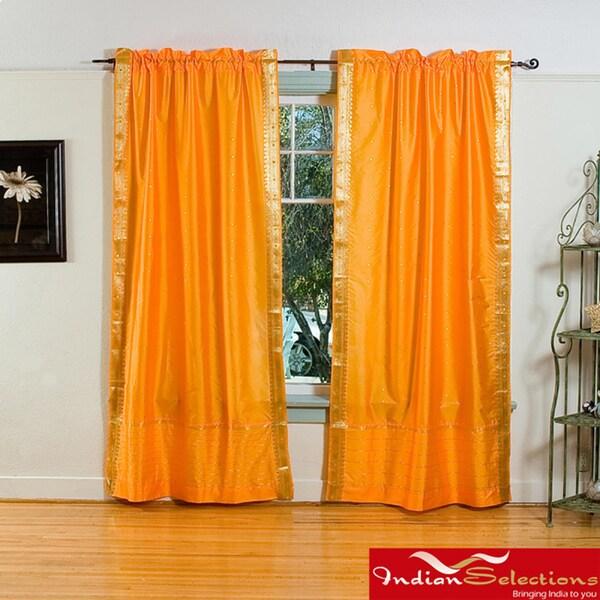 Pumpkin Rod Pocket Sheer Sari Curtain Panel Pair (India ...