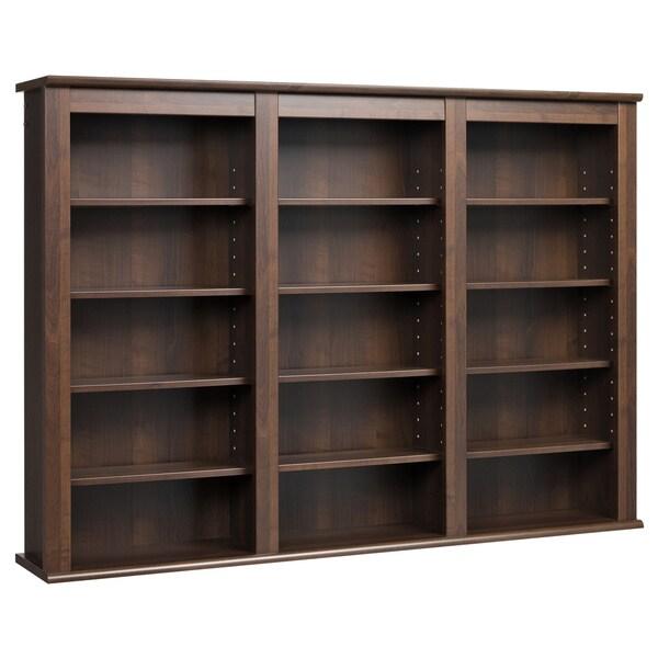 Wall Storage Office: Espresso Wall Hanging Media Storage Cabinet Bookshelf