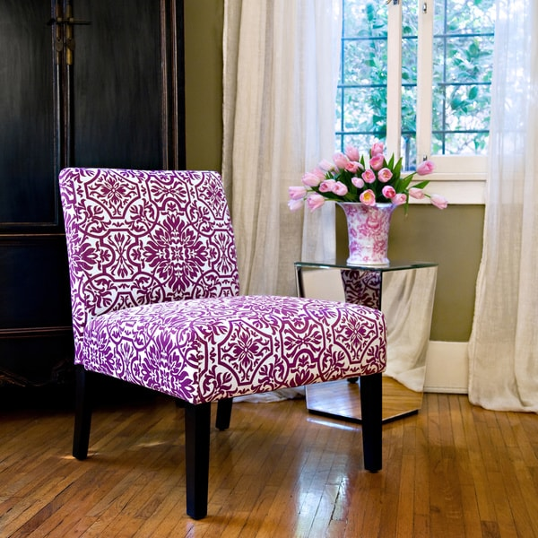 Angelo home bradstreet modern damask provence purple - Modern upholstered living room chairs ...
