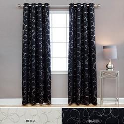 Lights Out Modern Foil 96 Inch Blackout Grommet Curtain Pair