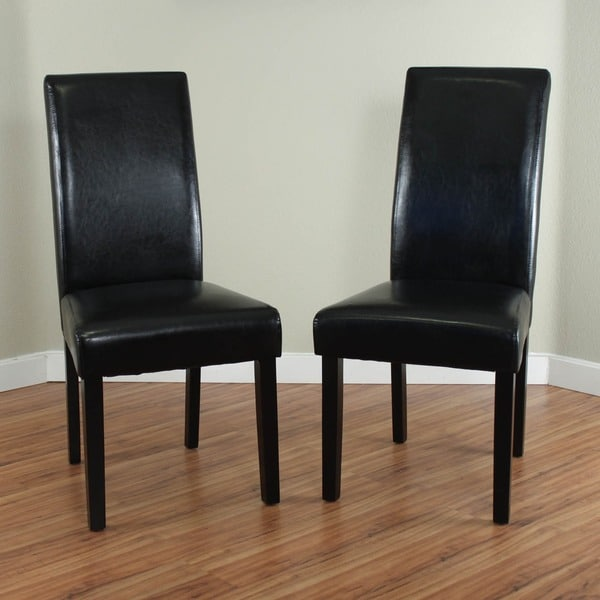 black leather dining room chairs | Villa Faux Leather Black Dining Chairs (Set of 2 ...