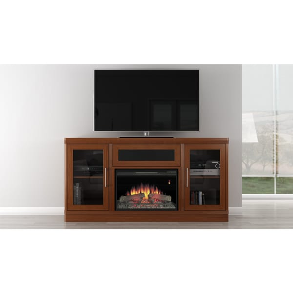 transitional 70 inch light cherry console with fireplace 13676642 shopping. Black Bedroom Furniture Sets. Home Design Ideas