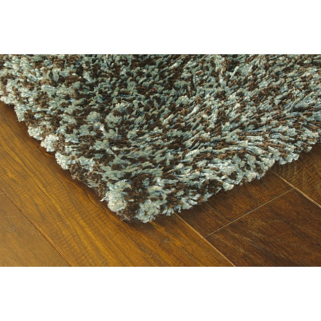 Manhattan Tweed Blue Brown Shag Rug 2 3 X 7 9