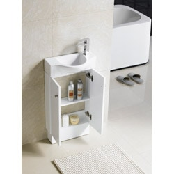 Somette Glenwood 17 Inch White Wood Bathroom Vanity ...
