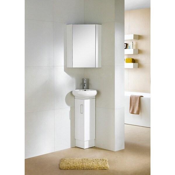 Fine Fixtures Milan Wood White Small Corner Bathroom