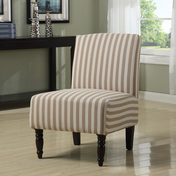 Lola Taupe Linen Stripe Armless Chair 13681135