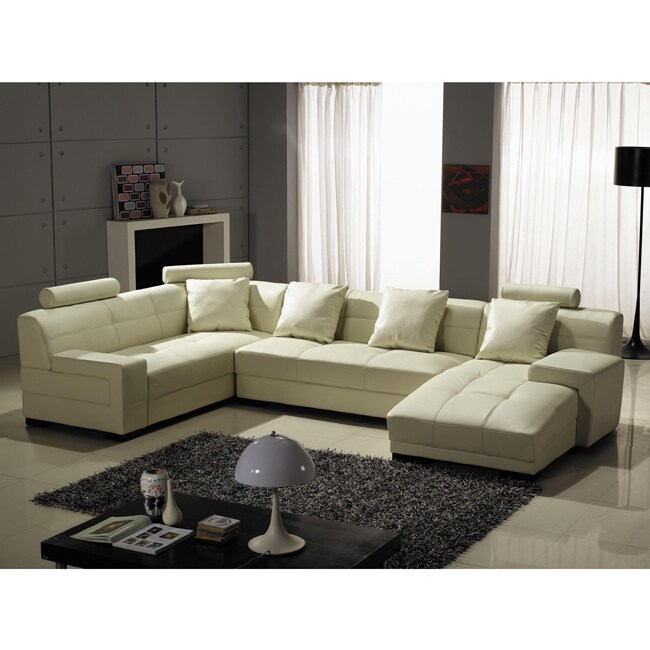 Houston Ivory Leather 3-piece Sectional Sofa Set