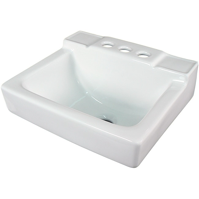 Fine Fixtures Ceramic 14 Inch Small White Wallmount Sink