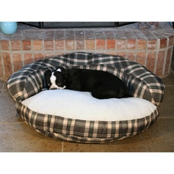 Round 35 Inch Green Microsuede Bolster Sherpa Dog Bed