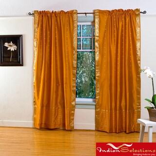 Mustard Yellow Sheer Sari 84 Inch Rod Pocket Curtain Panel