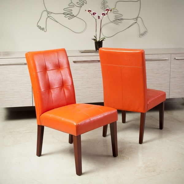 Burnt Orange Dining Room: Tufted Burnt Orange Leather Dining Chair Set Of 2 Room
