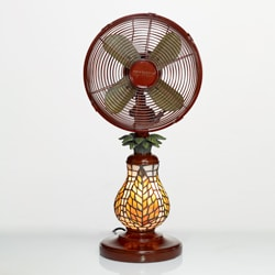 Deco Breeze Dbf0752 Ferns 10 Inch Mosaic Glass Table Fan