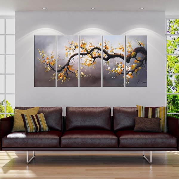hand painted 39 plum blossom 315 39 5 piece gallery wrapped canvas art set 13686861 overstock. Black Bedroom Furniture Sets. Home Design Ideas
