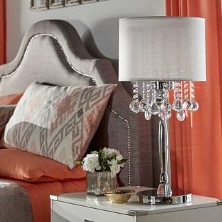Tribecca Home Silver Mist 3 Light Crystal Chrome Table Lamp