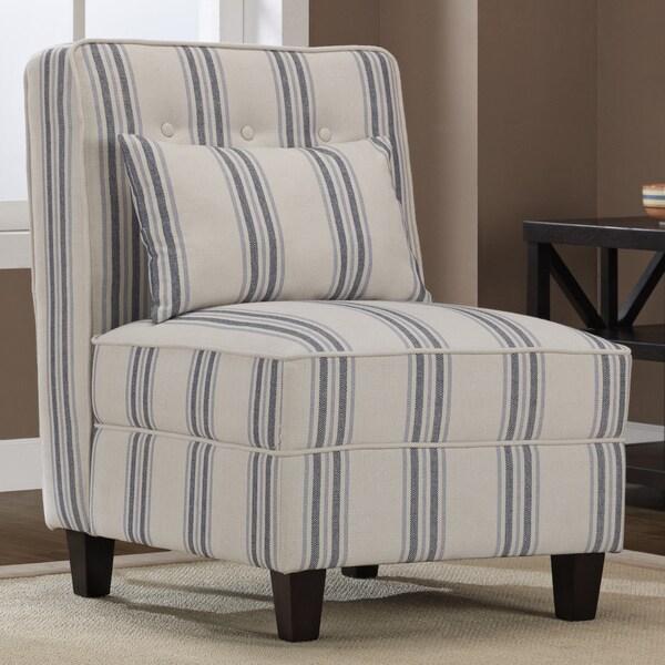 Mattie Tufted Slipper Blue/Cream Stripe Chair