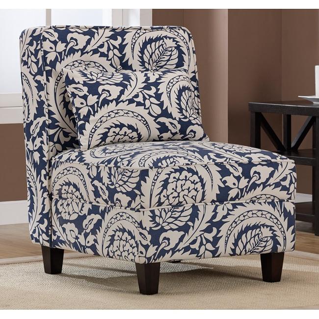 Mattie Tufted Slipper Tan Navy Print Chair