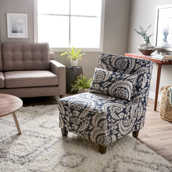 Mattie Tufted Slipper Tan Navy Print Chair 13692652