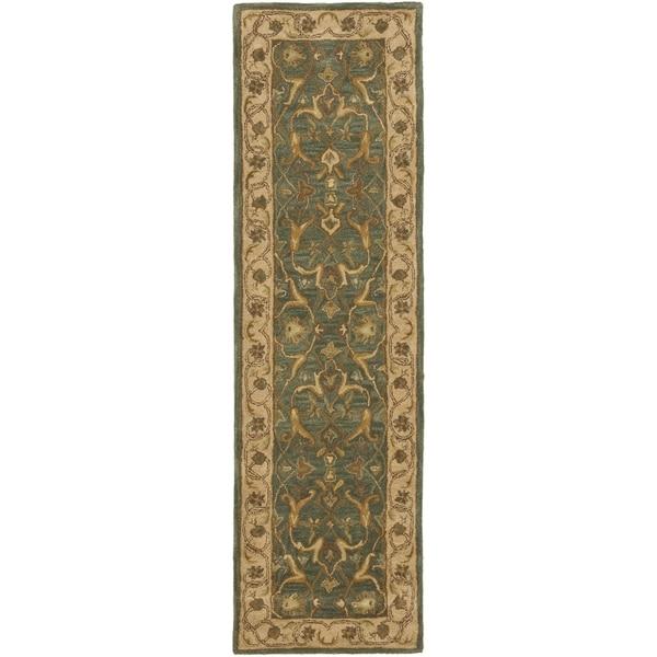 Safavieh Handmade Heritage Traditional Kashan Blue/ Beige Wool Runner Rug - 2'3 x 10'