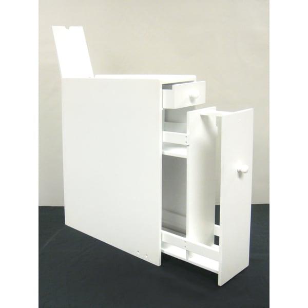 White Wood Bathroom Floor Cabinet 13704750 Overstock
