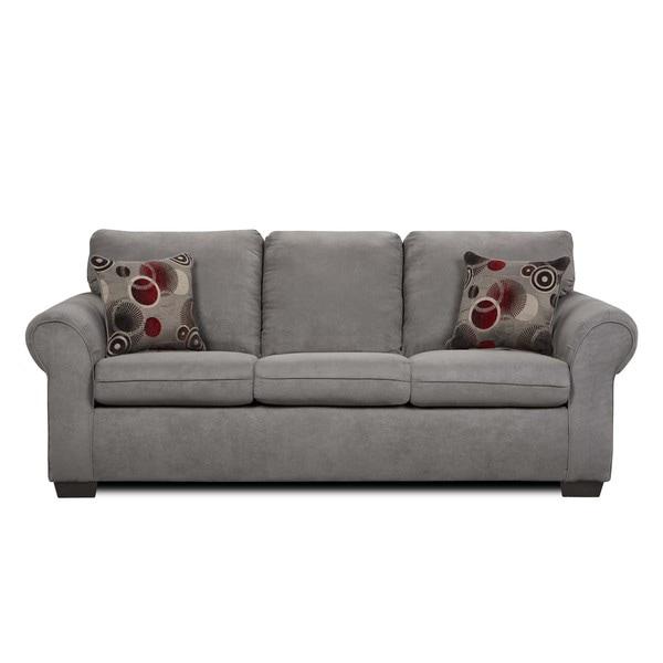 Simmons Suede Graphite Microfiber Queen-size Sleeper Sofa - 13708588