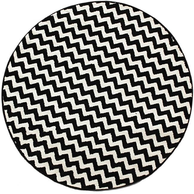 Nuloom Alexa Chevron Vibe Zebra Black White Rug 5 3 Round