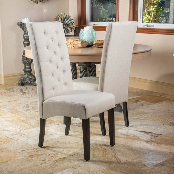 Dining Room Chairs Fabric: Christopher Knight Home Tall-back Natural Fabric Dining
