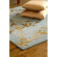 Hand-tufted Jackson Gray Floral Wool Area Rug - 5' x 8'