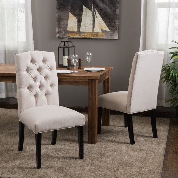White Fabric Dining Room Chairs: Christopher Knight Home Crown Fabric Off-white Dining