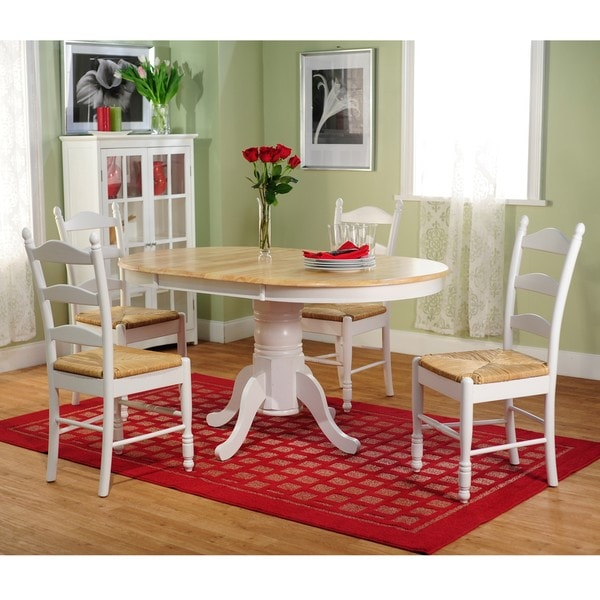 White Wood Dining Set: Simple Living White Wood And Rush 5-piece Ladderback