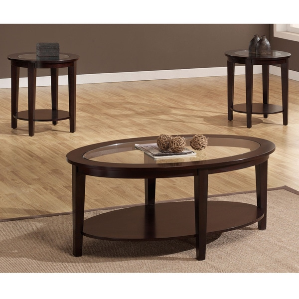 Oval Glass Coffee Table 3 Piece Set Furniture Home Decor: Oval 3-piece Table Set