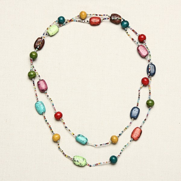 Studio S Womens Chainlink Beaded Long Necklace