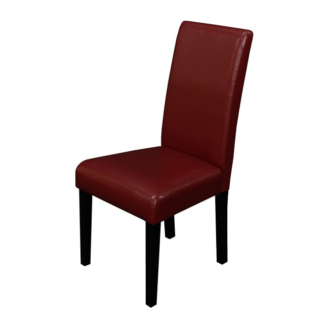Red Leather Dining Room Chairs: Villa Faux Leather Red Dining Chairs Set Of 2 Chair Home