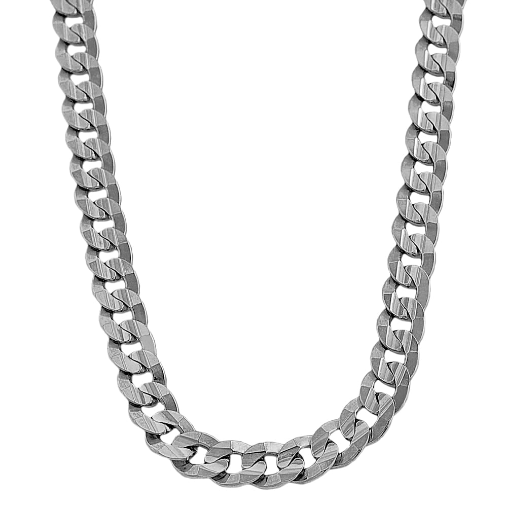 White Gold Chain Bracelet: Fremada 14k White Gold Men's Solid 9.7mm Curb Link Chain