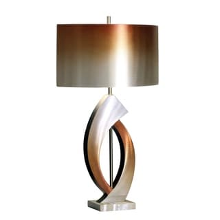 Mocha Metal Table Lamp With Cream Shade 10357806