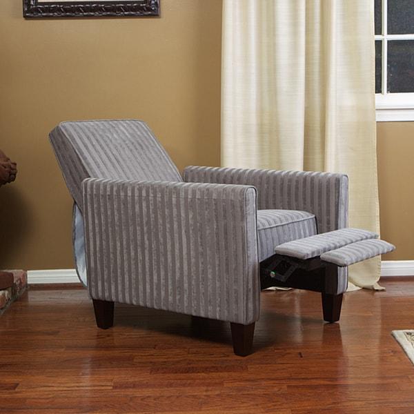 Grey Stripe Recliner Club Chair 13747989 Overstock Com