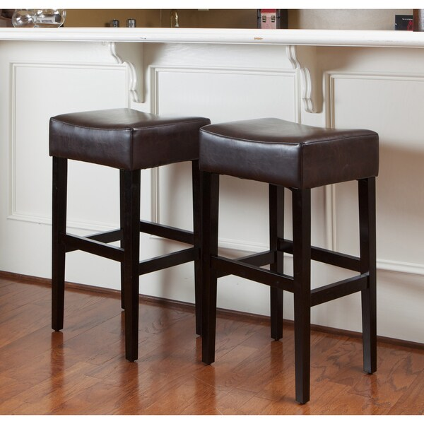 Christopher Knight Home Lopez Brown Leather Backless Bar
